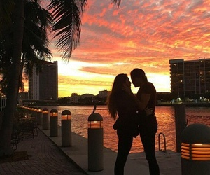 boy, girl, and sunset image