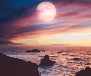moon, sky, and landscape image