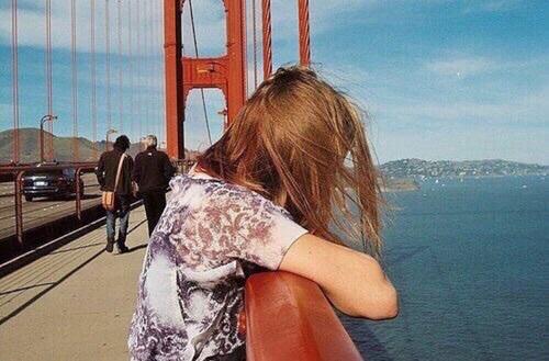 girl, bridge, and vintage image