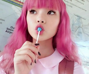 girl, asian, and pink image
