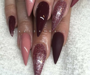 acrylic, burgundy, and claws image
