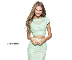 prom dress, two piece lace dress, and sherri hill 51013 image
