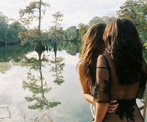 couple, nature, and girls image