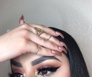 makeup, nails, and eyeshadow image