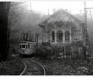 house, train, and black and white image