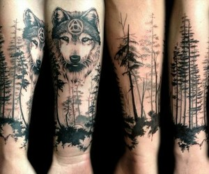 art, forest, and tattoo art image