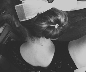 b&w, back, and bow image