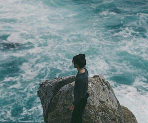 blue, girl, and alone image