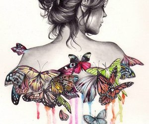 butterfly, drawings, and girl image