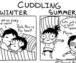 cuddling, winter, and sarah andersen image
