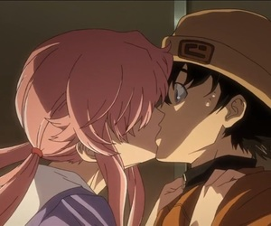 mirai nikki, anime, and kiss image