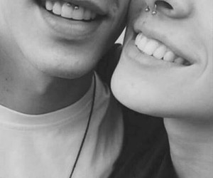 piercing, smile, and couple image