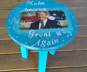 rustic decor, side table, and donald trump image
