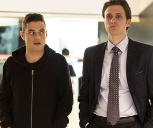 rami malek, mr robot, and book image