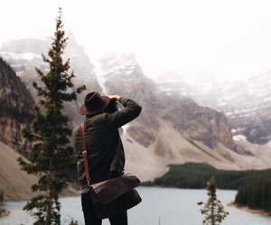 mountains, hipster, and man image