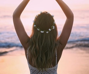 beach, fitness, and flower crown image