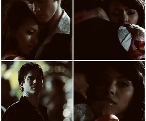 the vampire diaries, bonnie bennet, and damon salvatore image