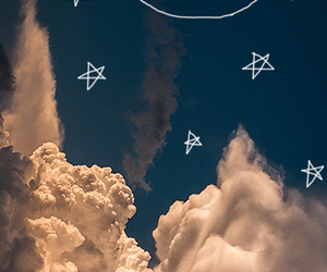 moon, stars, and clouds image