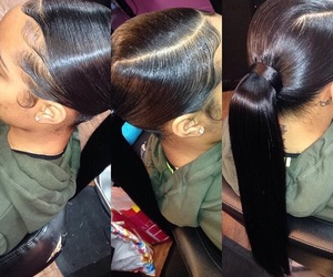 ponytail, hair, and weave image