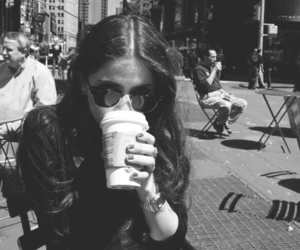 girl, black, and coffee image