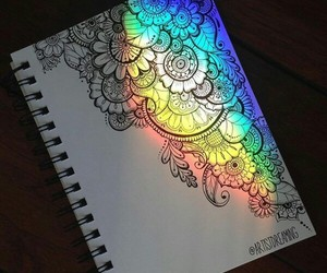 rainbow, art, and mandala image