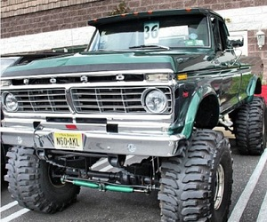 custom, ford, and lifted image