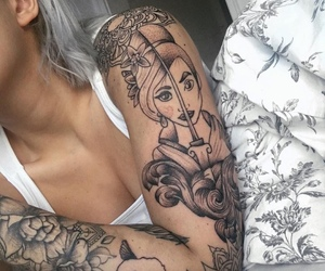 fashion, tattoo, and girl image