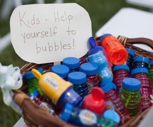 wedding, bubbles, and kids image