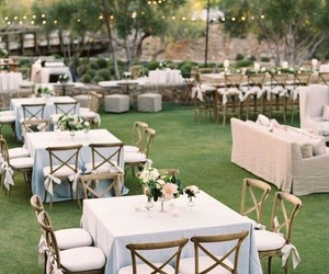 garden wedding, outdoor wedding, and wedding decorations image