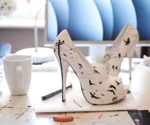 shoes, bird, and white image