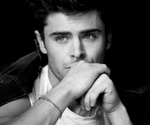 zac efron and black and white image