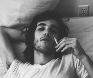 boy, black and white, and smoking image