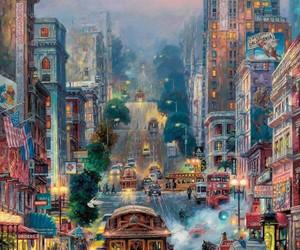 art, sunset, and tram image