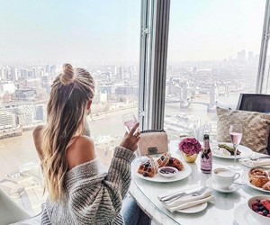 fashion, girl, and breakfast image