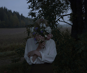 flowers, girl, and dark image