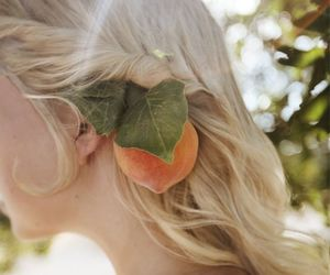 blonde, fruit, and girl image