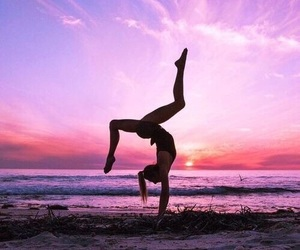 girl, gymnastics, and beach image