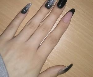 gray, nails, and black image