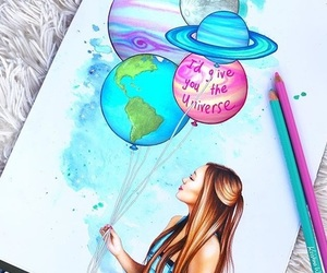 drawing, draw, and planets image