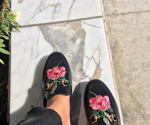 shoes, flowers, and gucci image