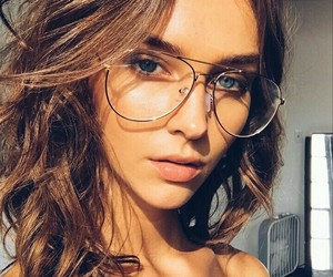 girl, glasses, and gold image