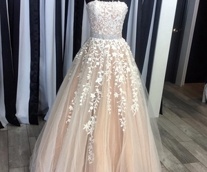 evening dress, lace dress, and Prom image