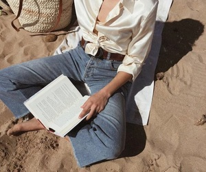 beach, book, and fashion image