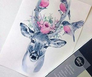 art, birds, and deer image