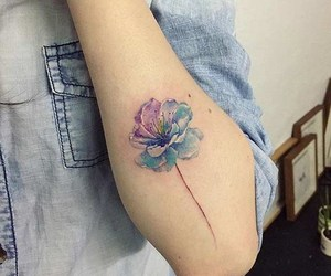flowers, tattoo, and blue image