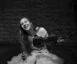 black and white, violin, and happy image