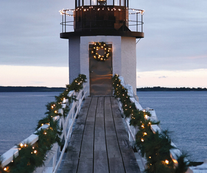 christmas, light, and lighthouse image
