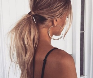 blonde, ponytail, and hair image