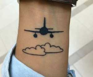 tattoo, airplane, and clouds image