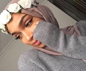 hijab, beauty, and flowers image
